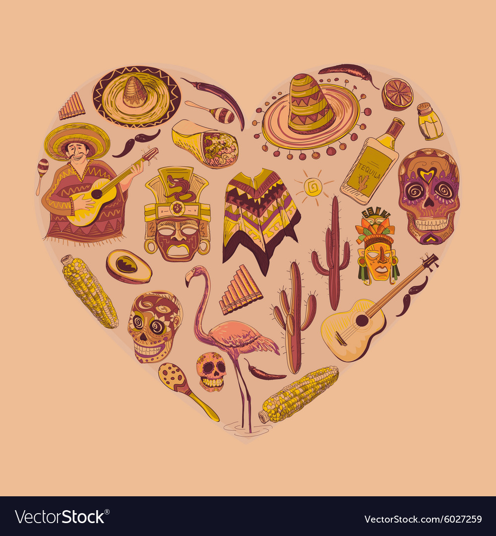 Mexico love  heart with set vector