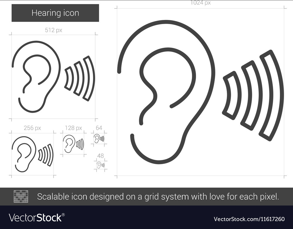 Hearing line icon vector