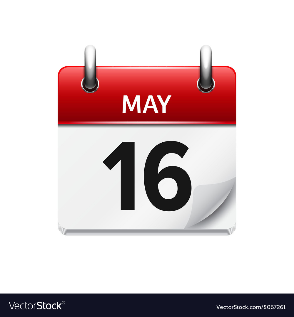 May 16 flat daily calendar icon date and vector