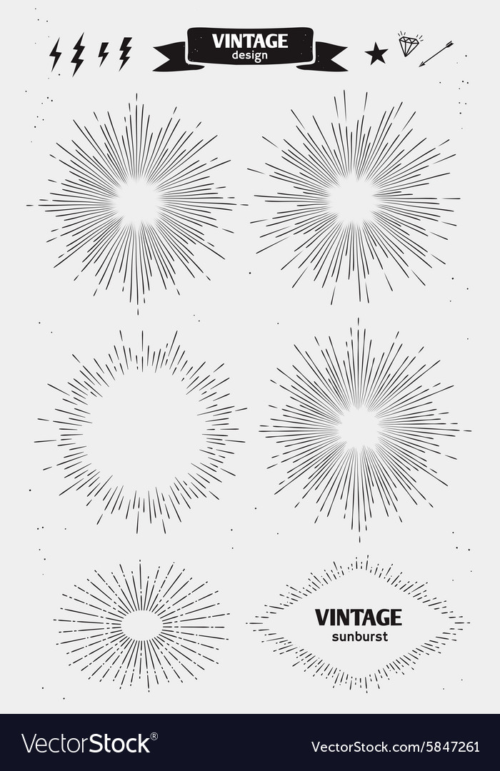 Set of vintage monochrome sun burst starburst vector