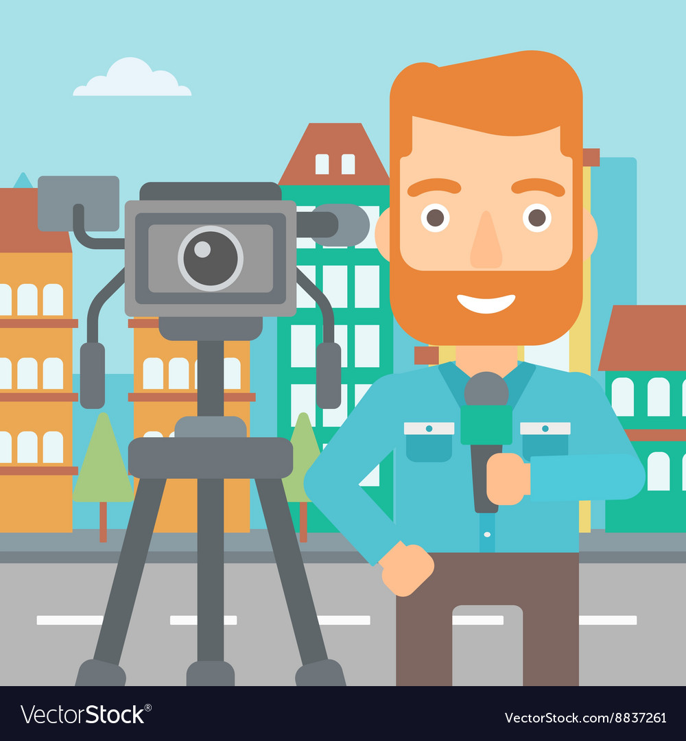 Tv reporter working vector