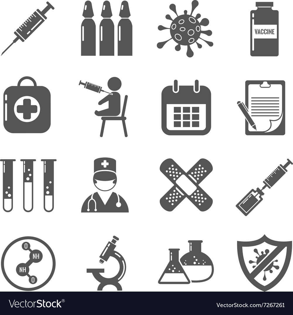 Vaccinations black icons set vector