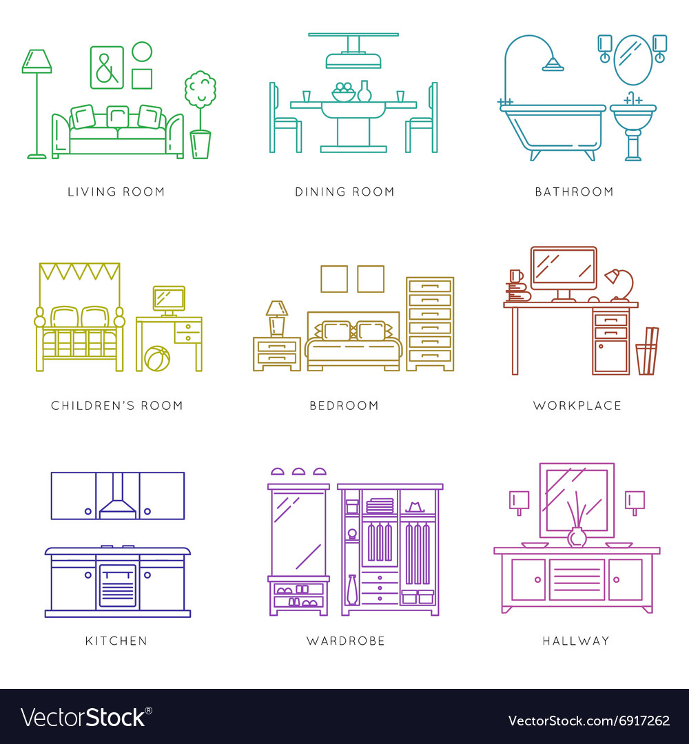 Home rooms interior in linear style icons vector