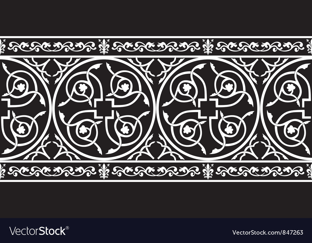 Gothic floral border vector
