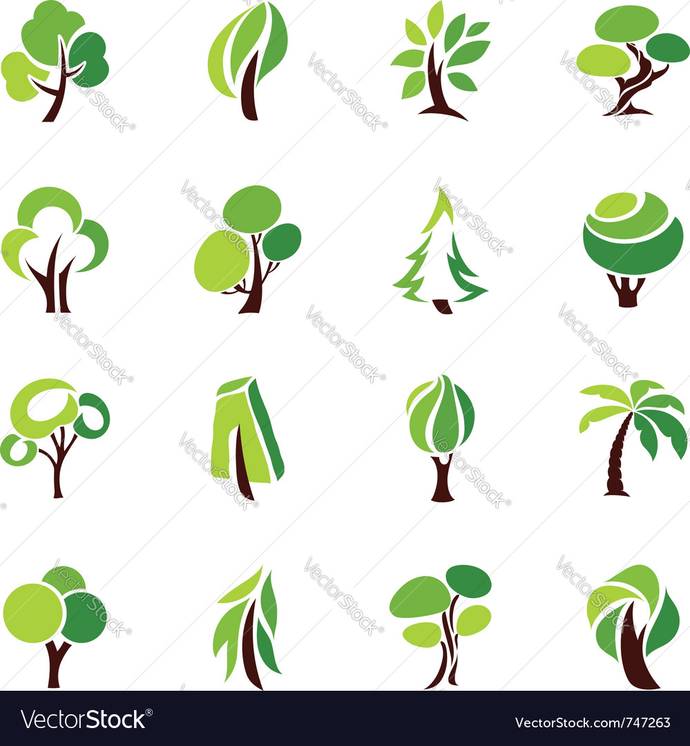 Trees  logo template set vector