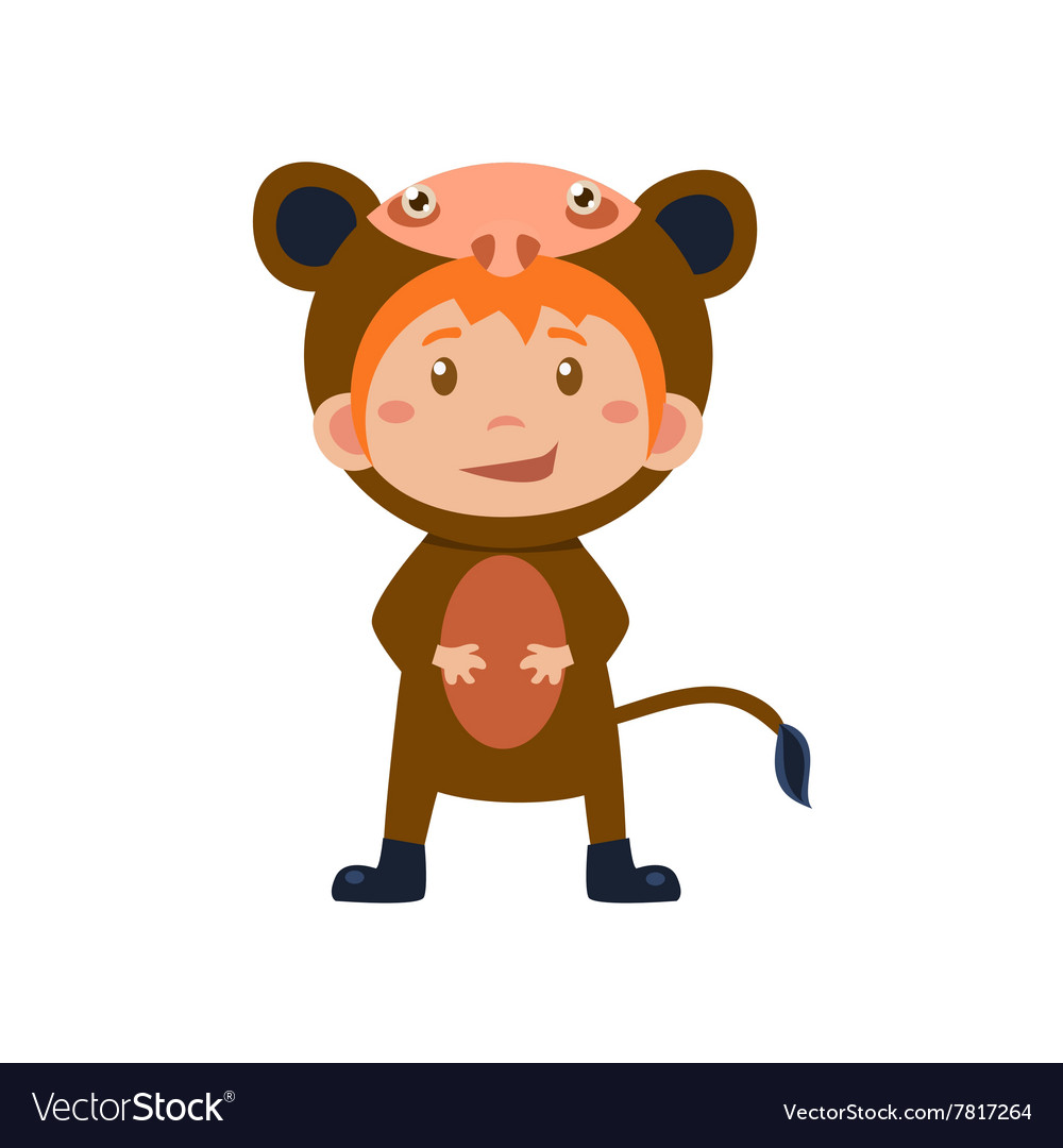 Child wearing costume of monkey vector