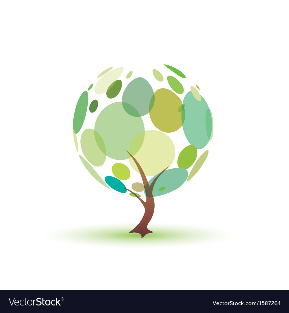 Green tree isolated symbol vector