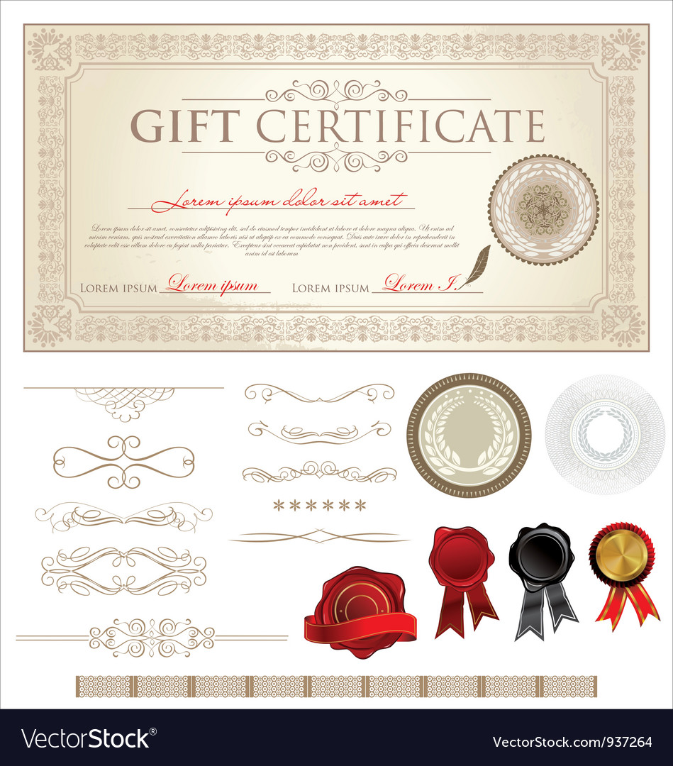 Ornate vintage certificate and ornaments vector