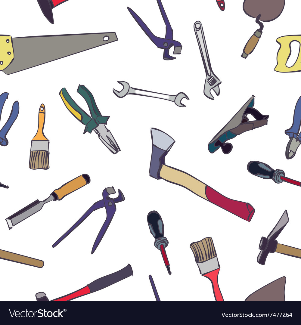 Seamless work tools pattern vector