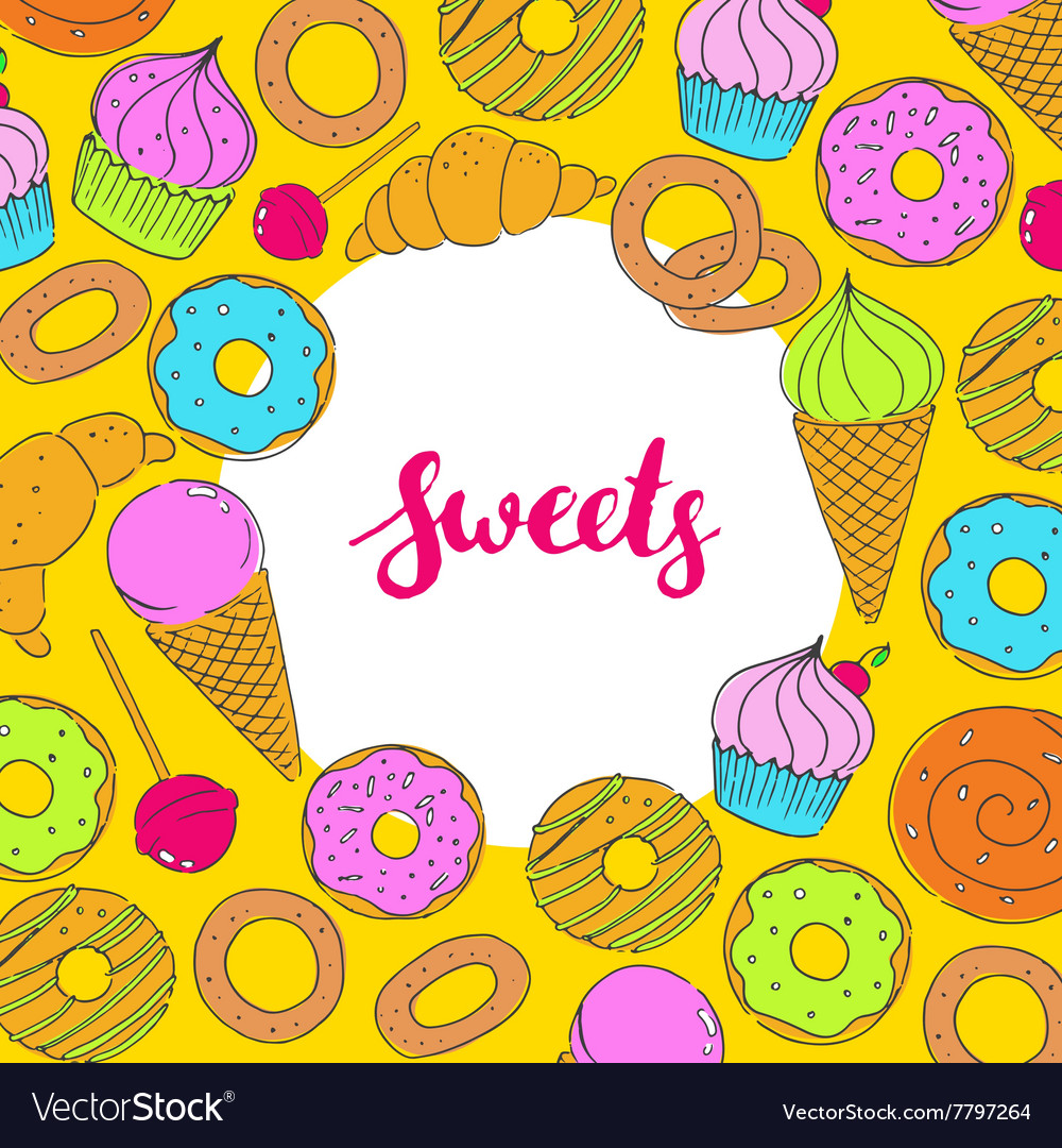 Set of hand drawn food sweets vector