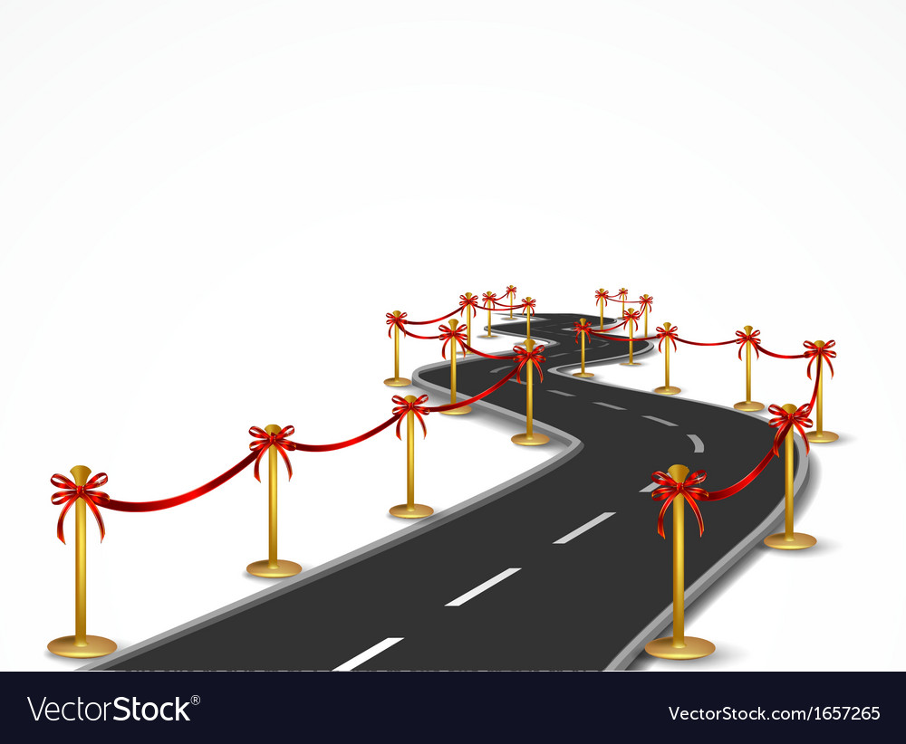 Curved road with gold balustrade and red bow vector