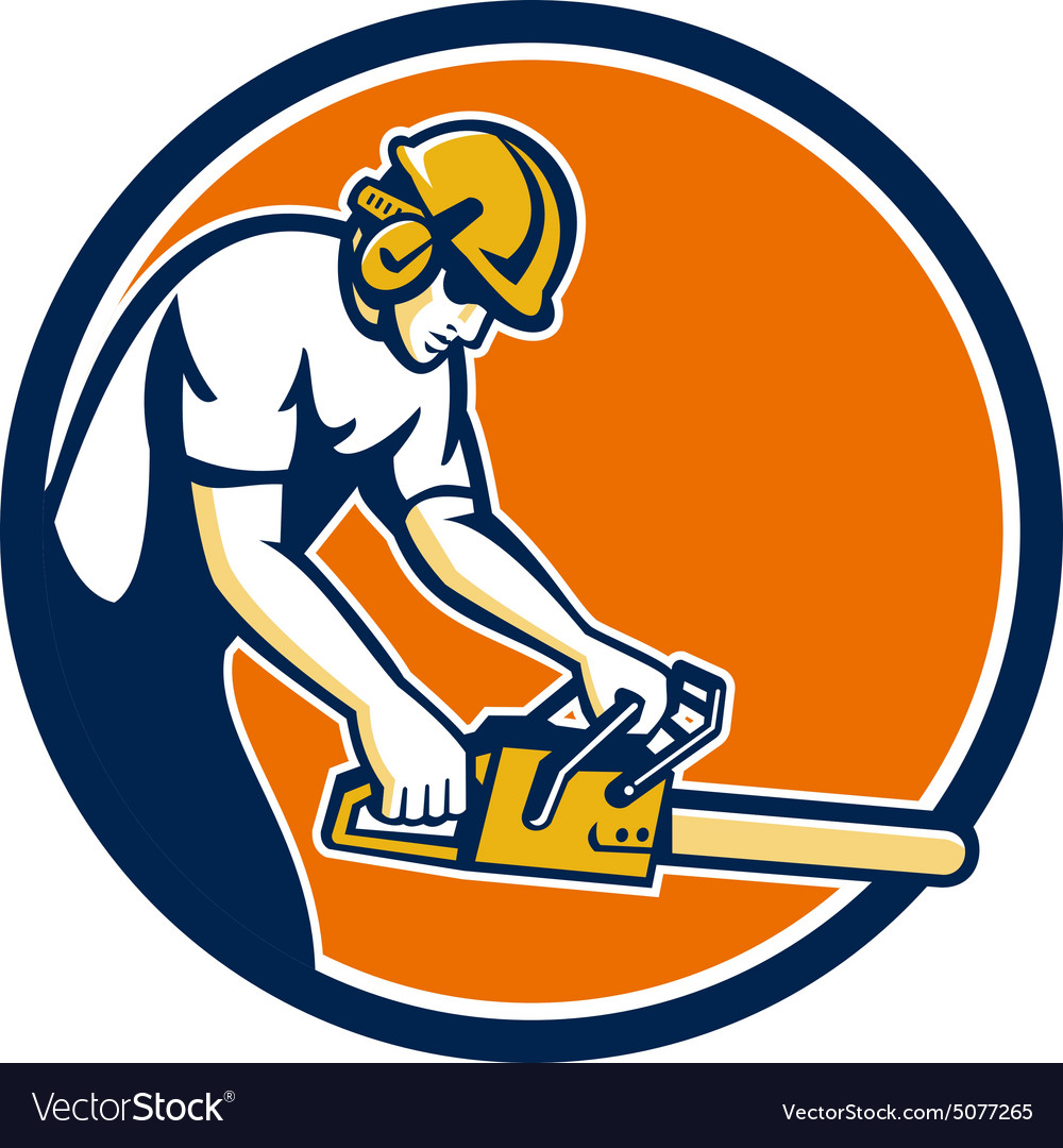 Tree surgeon lumberjack chainsaw circle retro vector