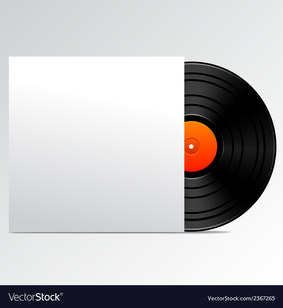 Vinyl disk with blank cover vector