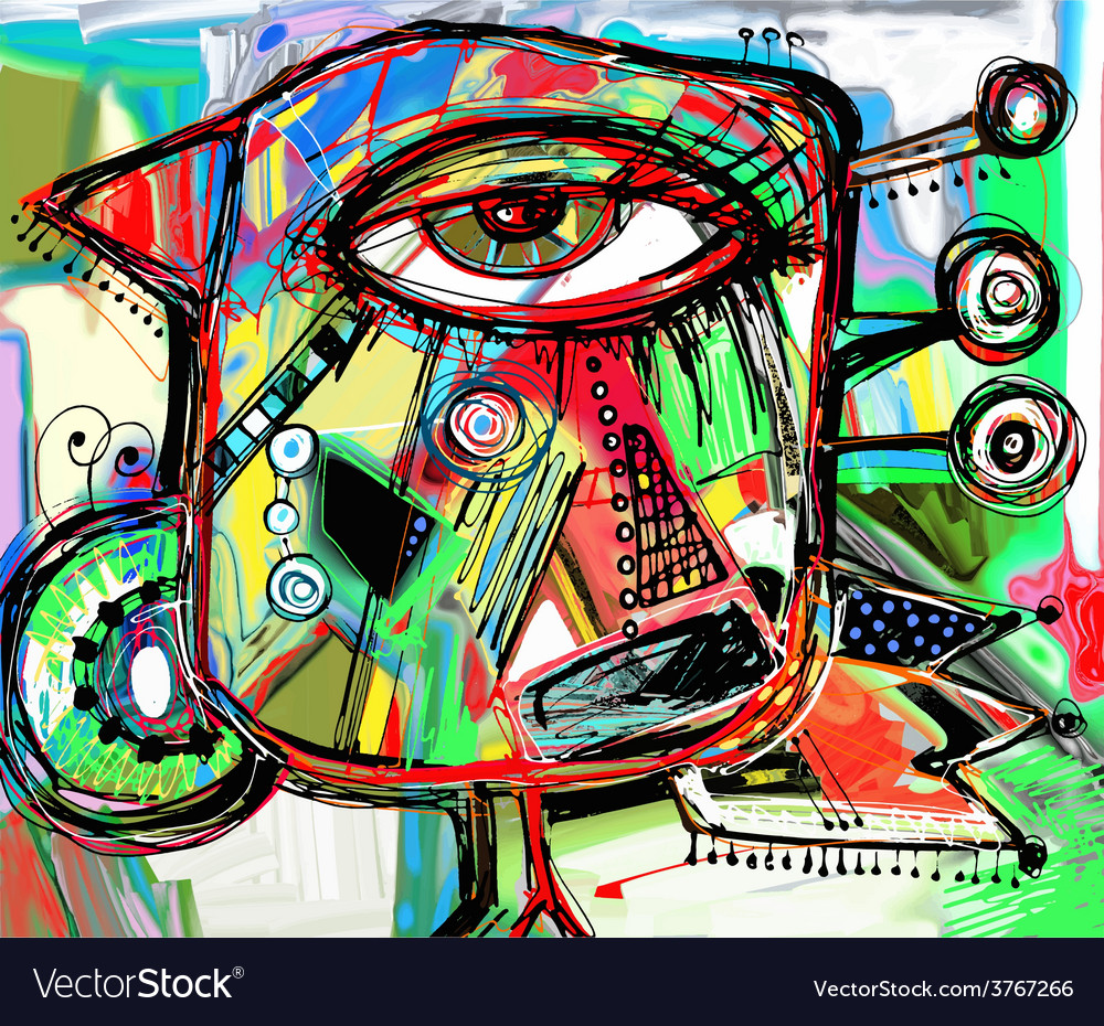 Abstract digital painting artwork of doodle bird vector