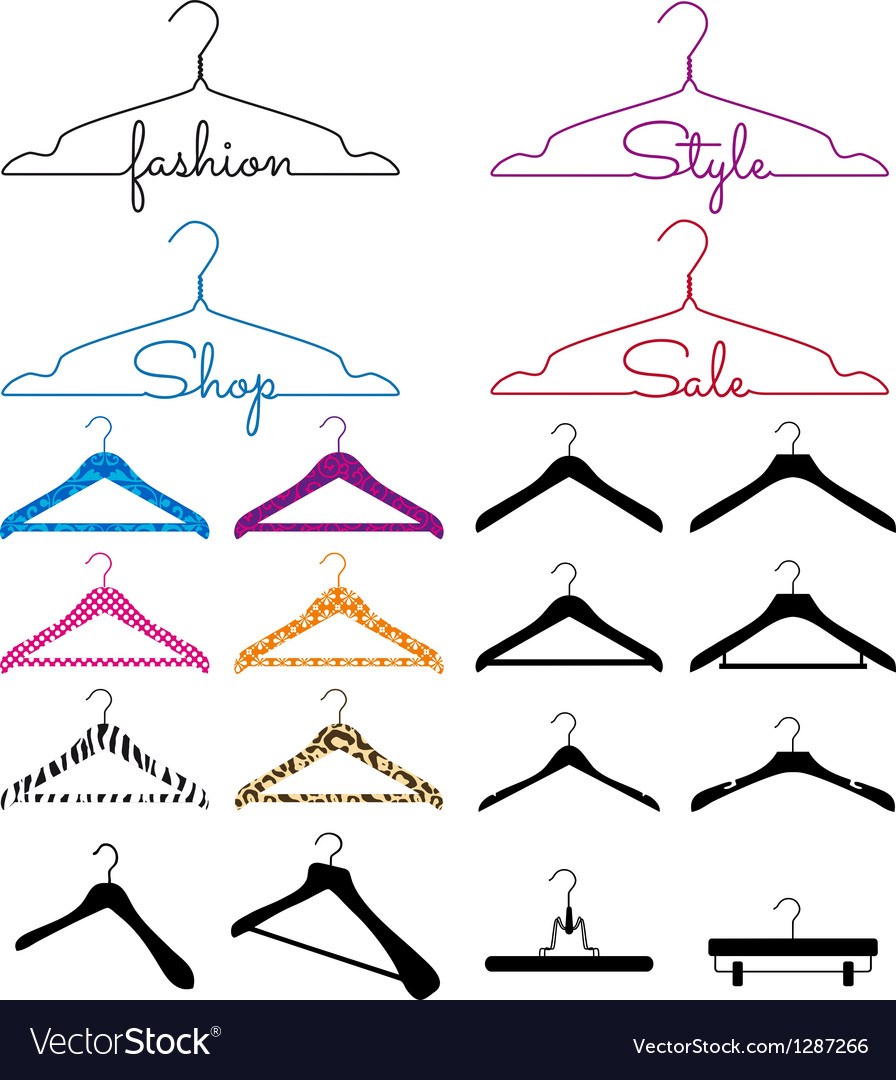 Clothes hanger set vector
