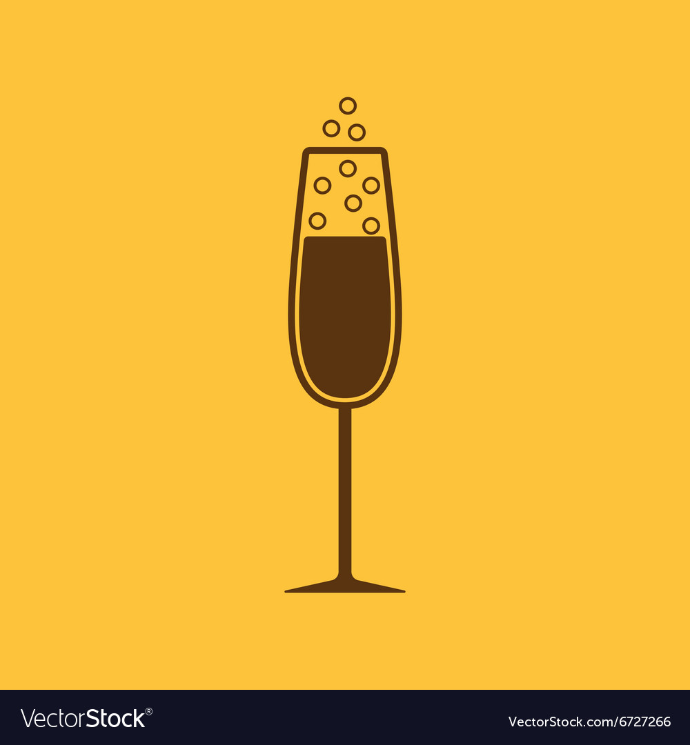 Glass of champagne icon wine symbol flat vector