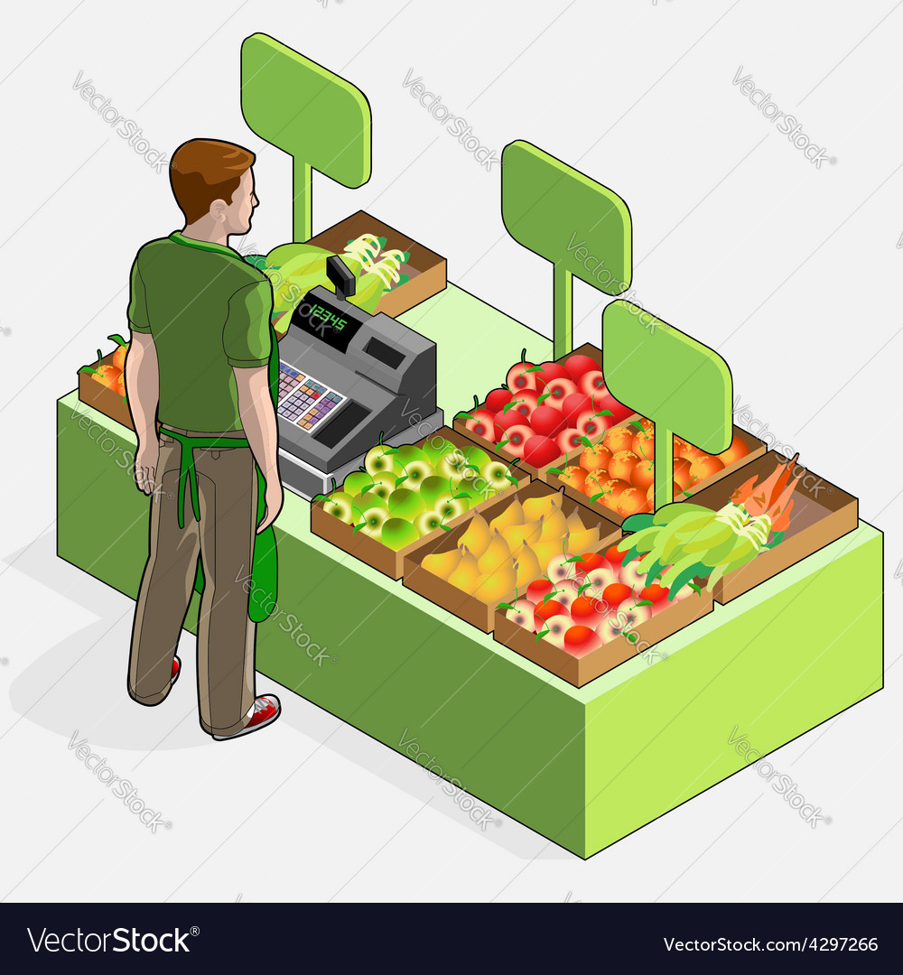 Isometric greengrocer shop  man owner  rear view vector
