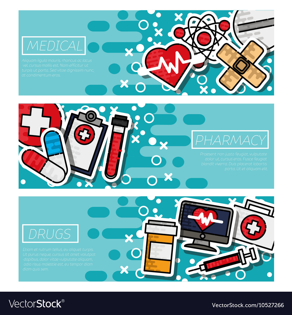 Three medical banners vector