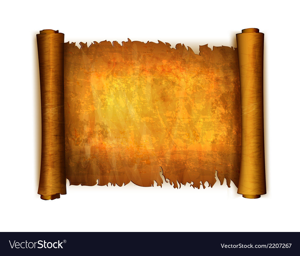 Old scroll paper isolated on white background vector