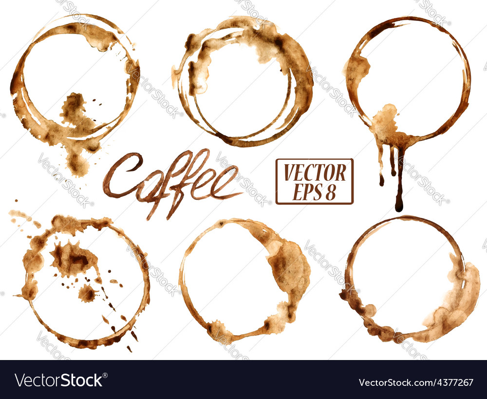 Watercolor coffee stains icons vector