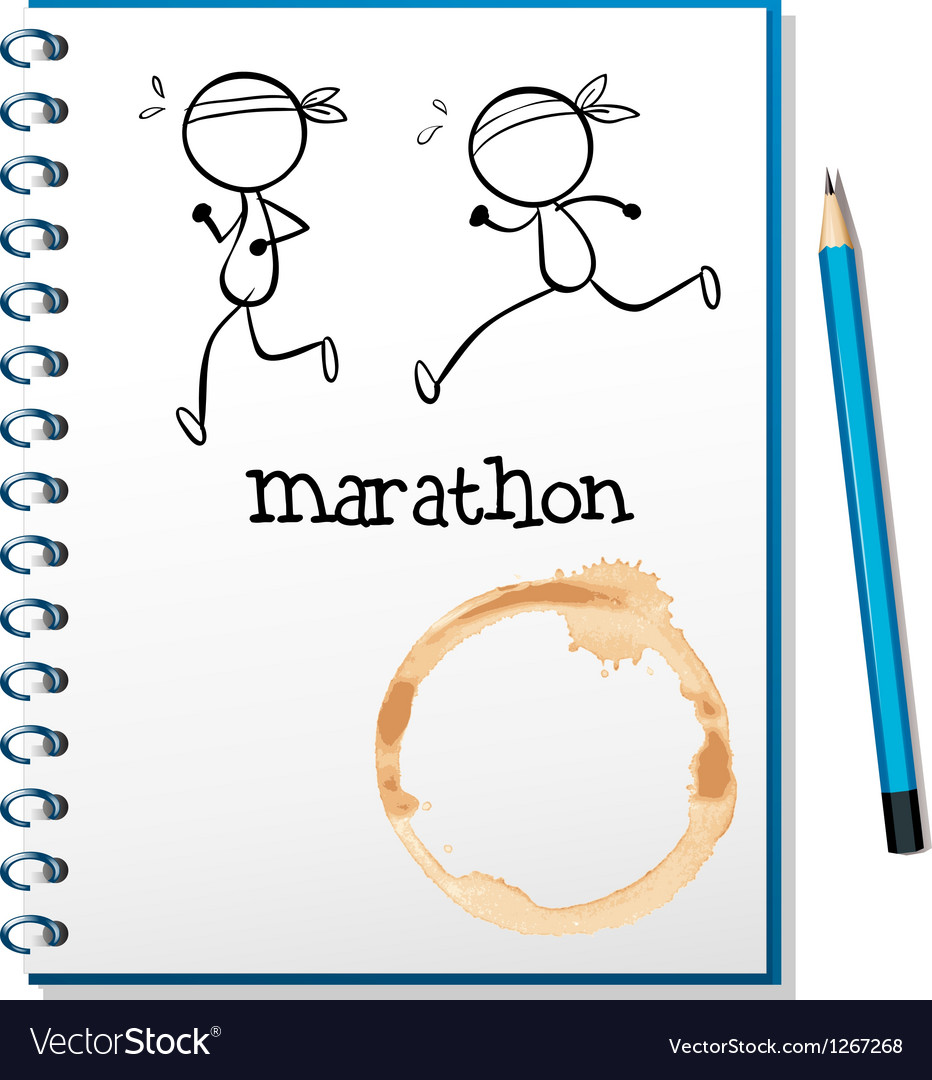 A notebook with two runners in the cover page vector