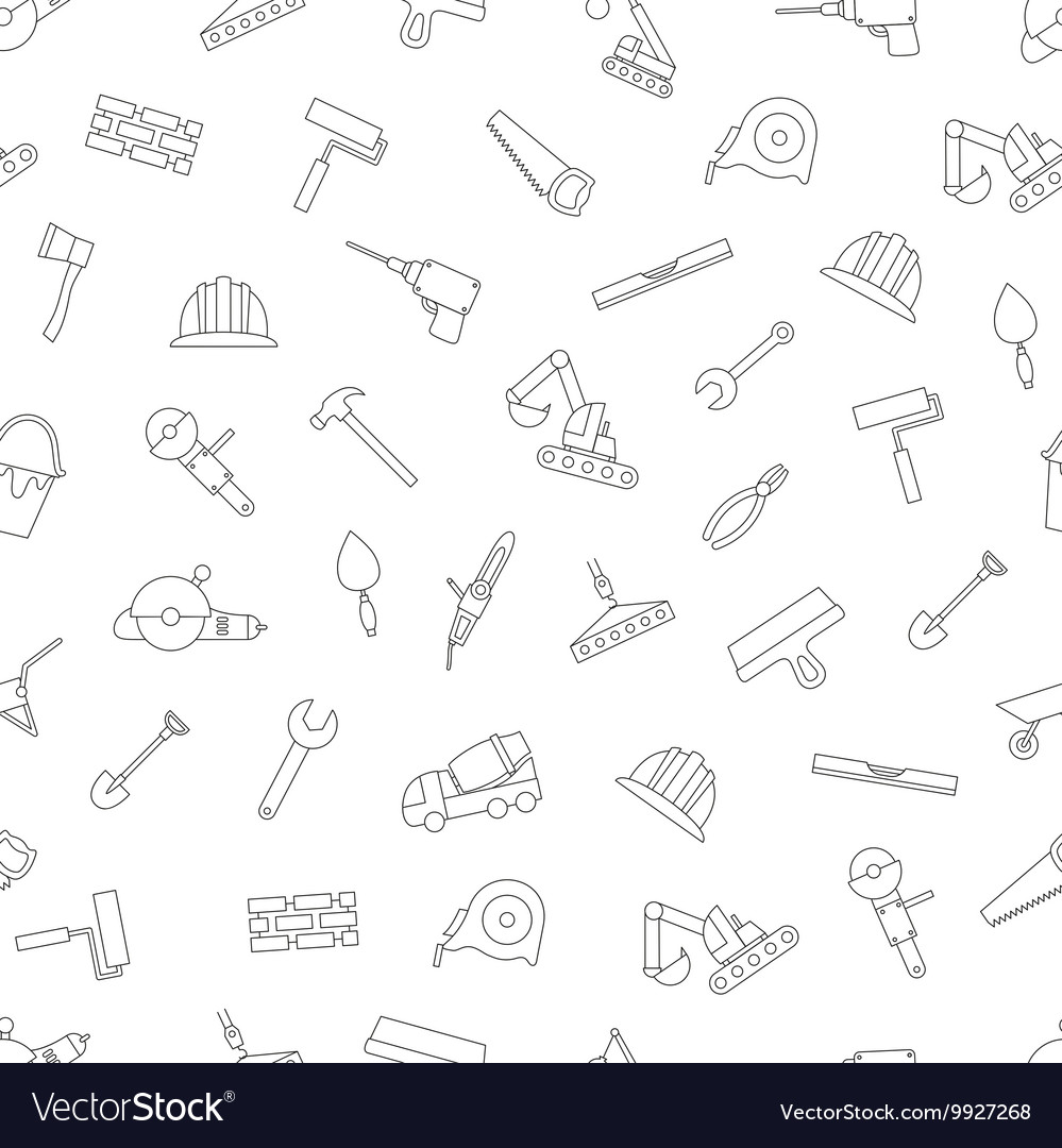 Construction pattern black icons vector