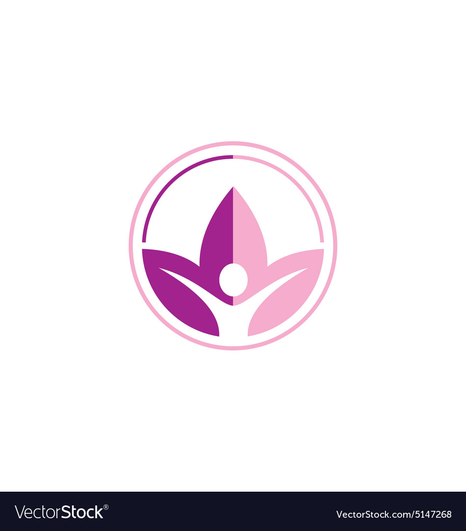 Lotus flower yoga people sport logo vector