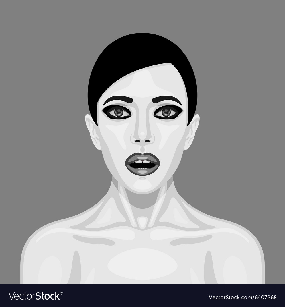 Surprised retro woman with open mouth vector