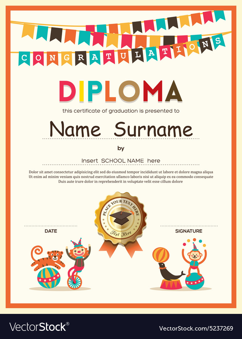 Kids diploma school certificate template vector