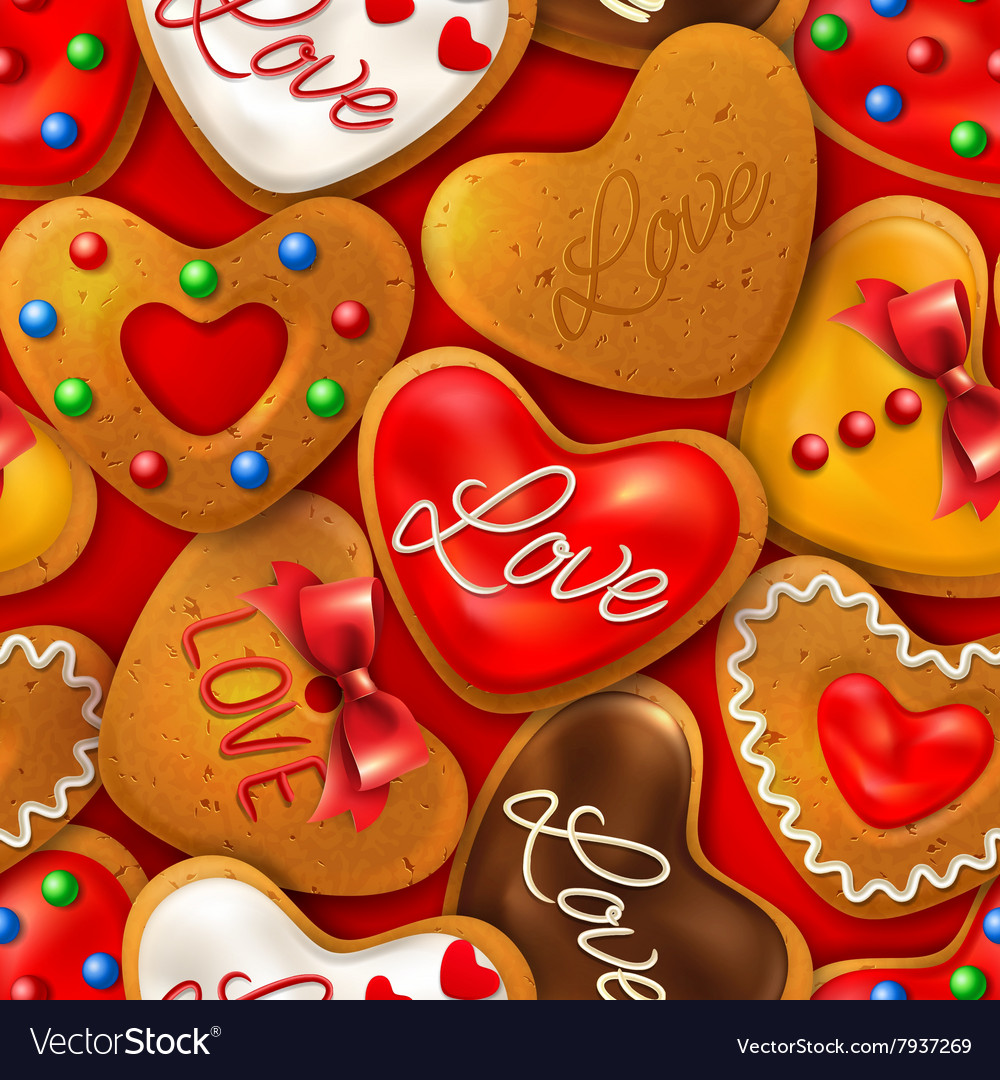 Seamless background with happy valentines day vector