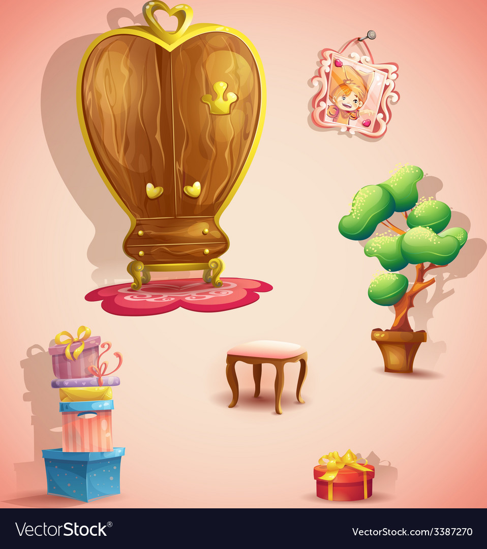 A set of furniture and items for the doll princess vector