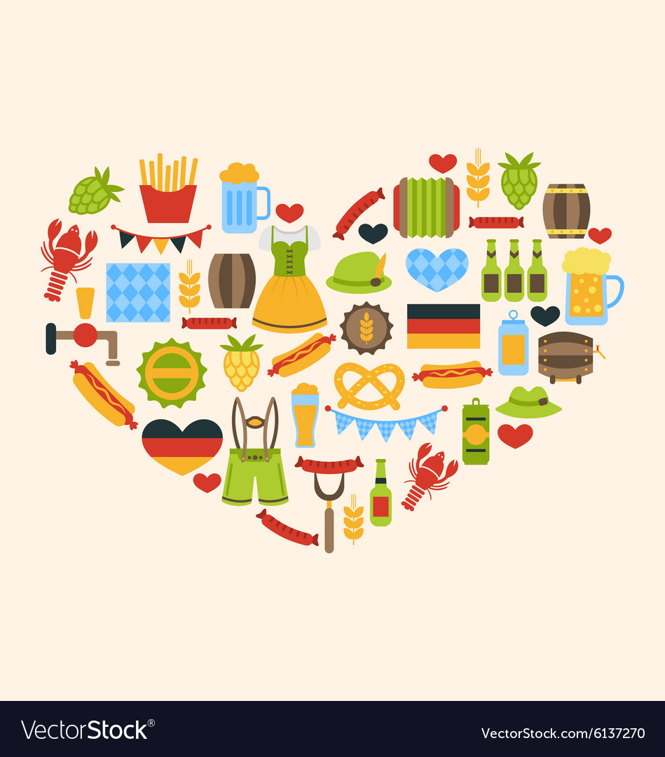Heart made in oktoberfest traditional symbols vector