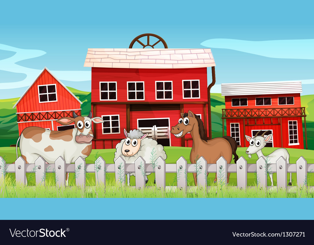 Animals inside the fence vector