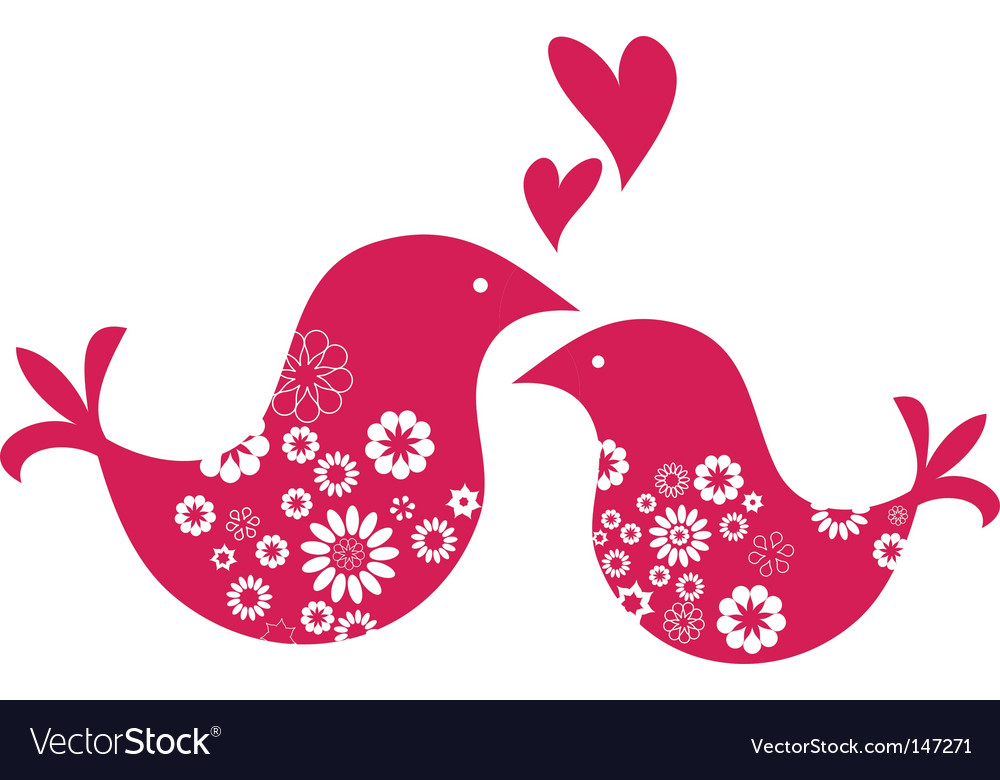 Retro love birds with hearts vector