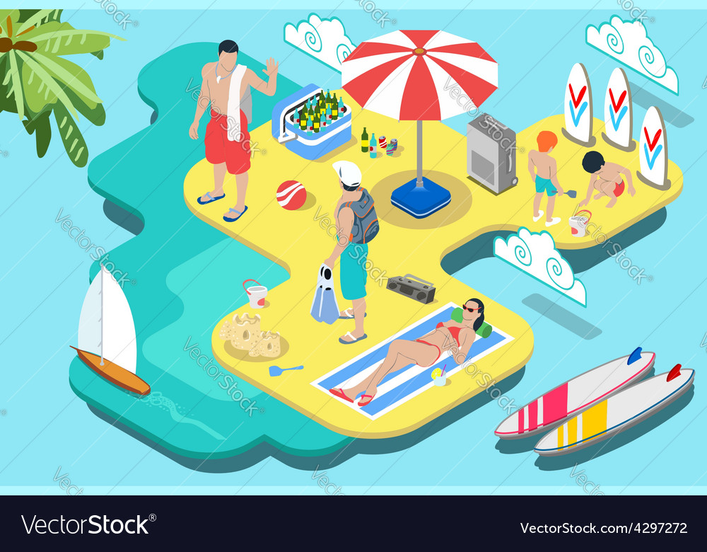 Isometric flat beach life  summer holidays vector