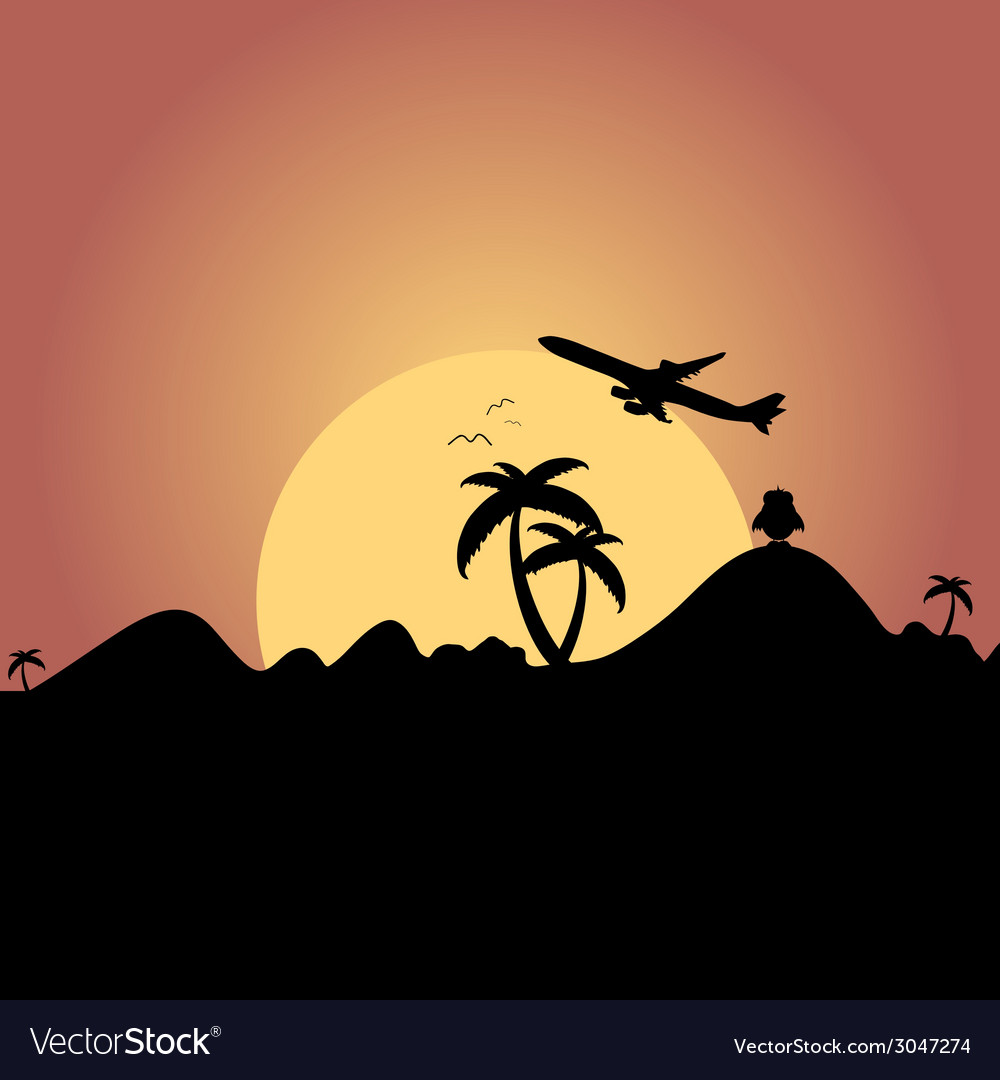 Airplane flying over mountain with palm silhouette vector