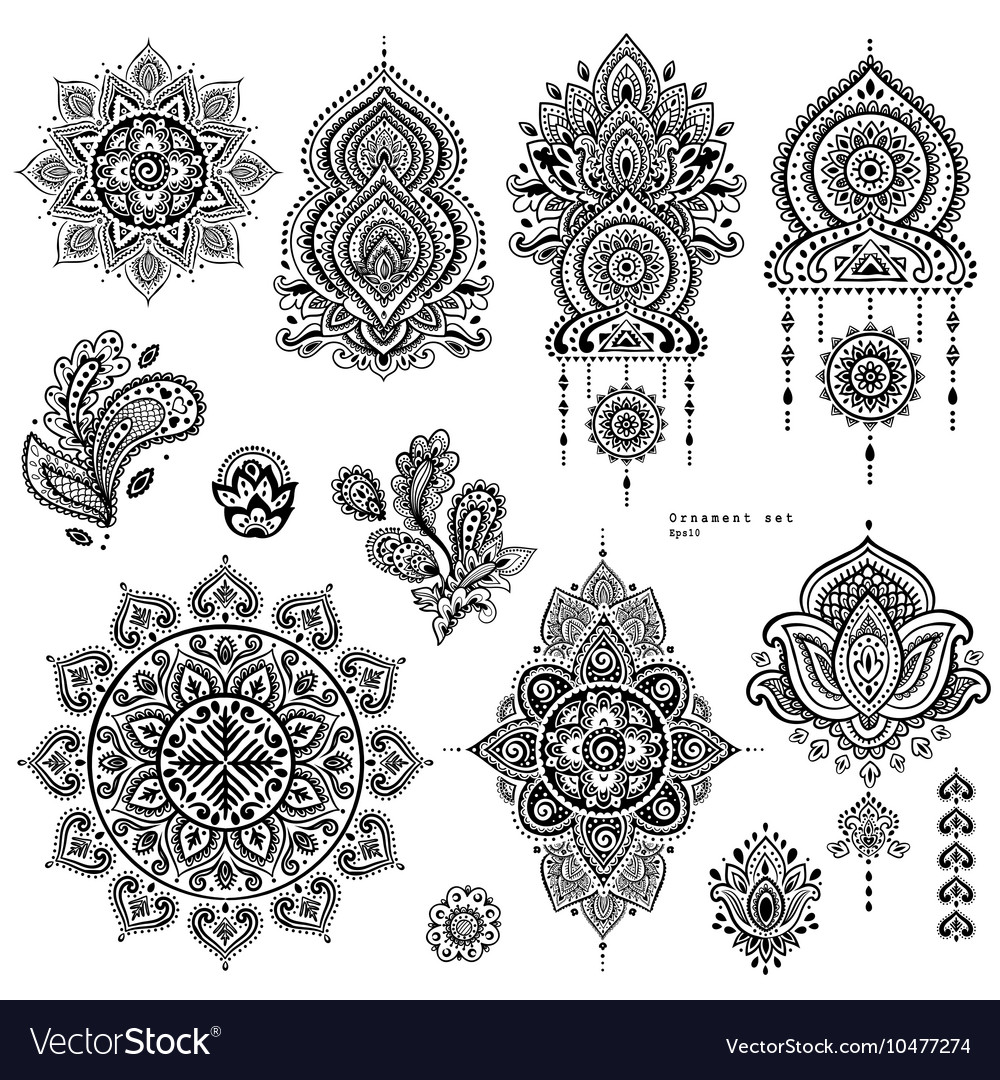 Set of indian floral paisley ornaments vector