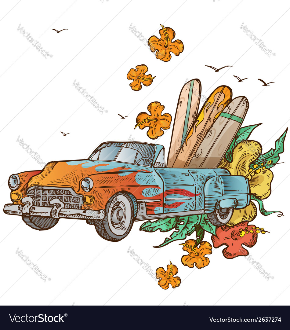 Vintage car with surfboard vector