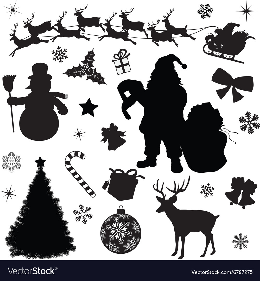 Christmas collection black silhouettes vector