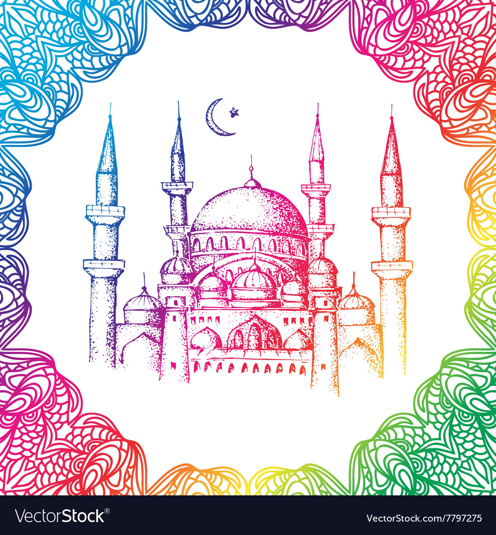 Islamic mosque and ornament vector
