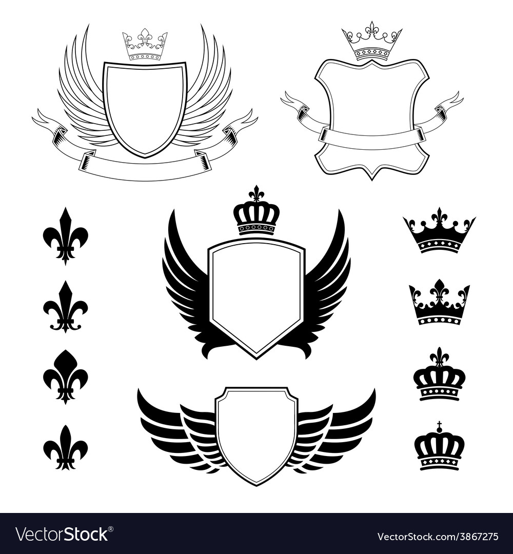 Set of winged shields  coat of arms  emblems vector