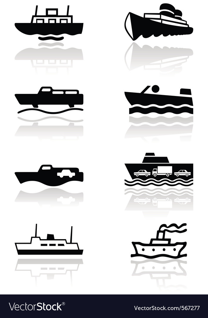 Boat symbol set vector