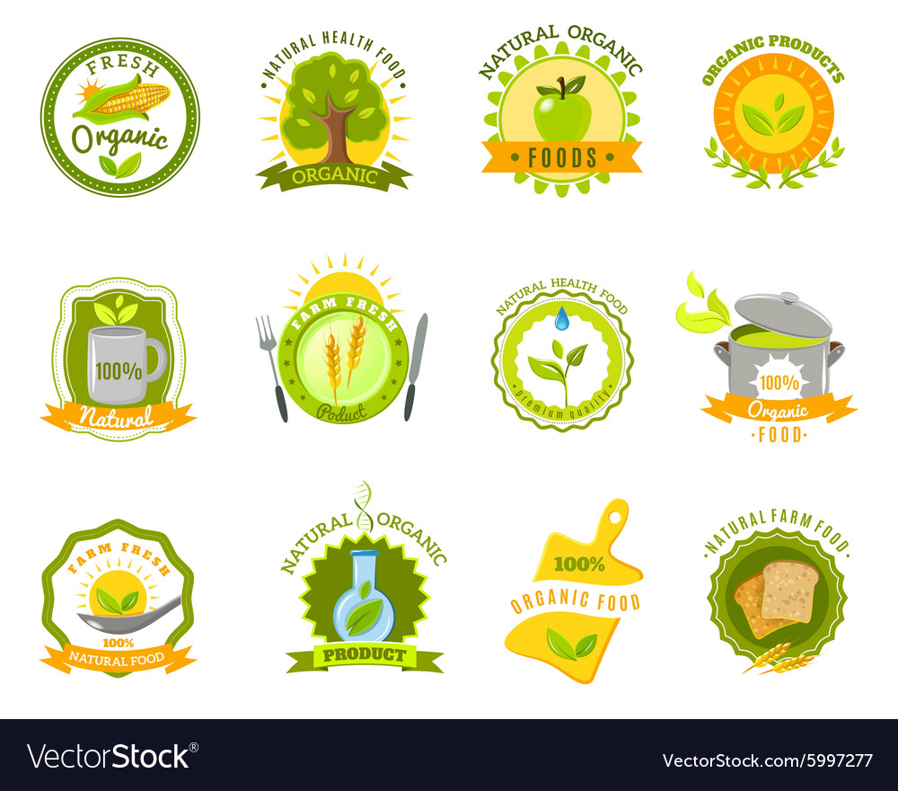 Organic food brands labels templates set flat vector