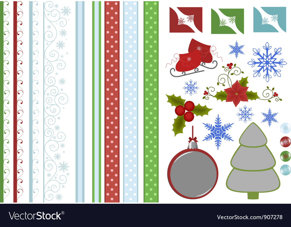 Collection of christmas scrapbook decors vector