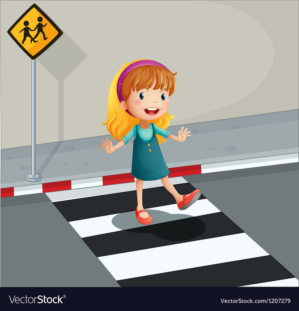 A young lady crossing the pedestrian lane vector