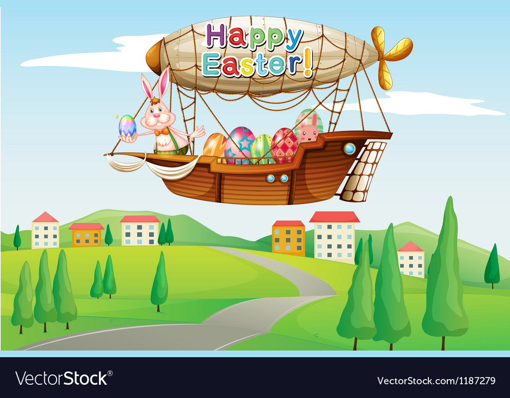 An airship with an easter greeting passing at the vector