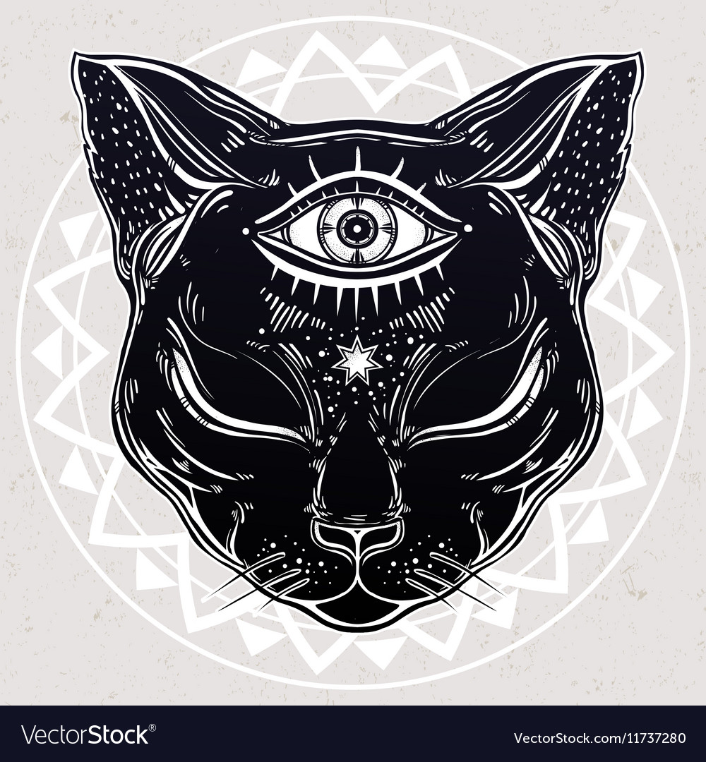 Black cat head portrait with moon and three eyes vector