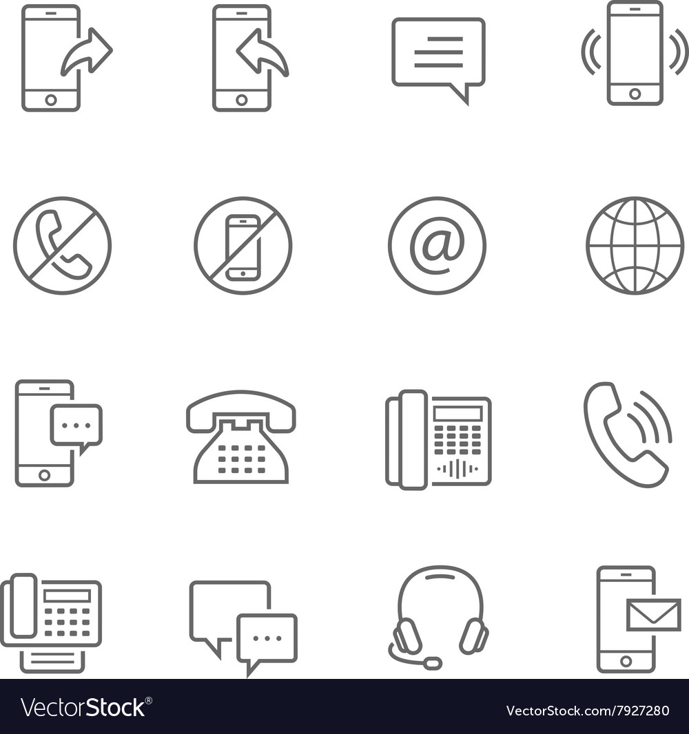 Lines icon set  communication vector