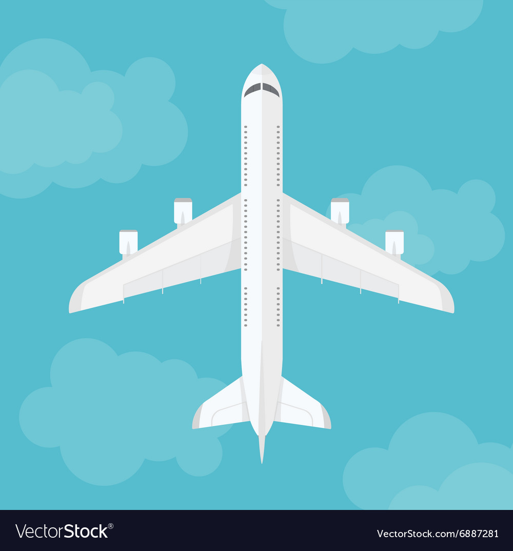 Airplane top view near clouds vector