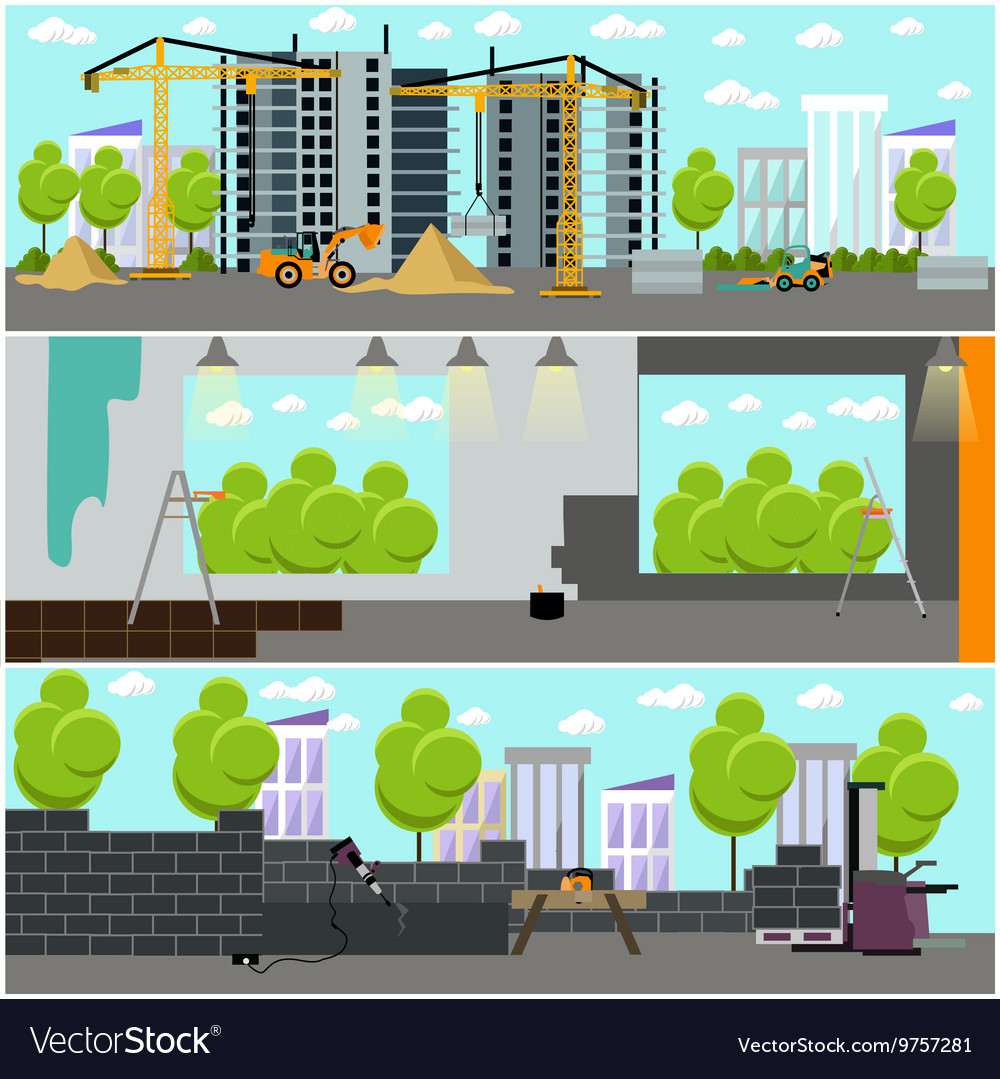 Construction site concept banner building vector